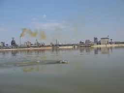 Swimming past Turnu Magurele, Romania, an industrial port with a large fertilizer plant pouring acrid fumes into the air and dumping toxic-looking waste into the river.